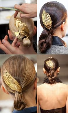 10 Radiant Gold Leaf Makeovers. Temporary Gold Leaf Hairstyle I think this gold leaf hair is beautiful for special occasions. A little extra effort really makes the difference when it comes to special events - weddings, soirees, even prom! Learn more at I Found my Soulmate.
