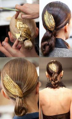 Golden hair from Jason Wu runway show, fall 2011.