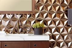 Ogassian tile from Ann Sacks--turn your bathroom into a luxurious spa!  3-Dimensional tile.