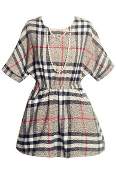 Vintage Plaid Mini A-Line Woolen Dress