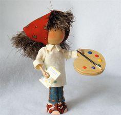 Clothespin Doll Painter Peg Doll Artist by HeartStringsHandmade