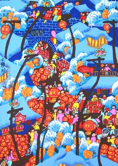 Chinese folk art paintings - Lantern Festival of Old Town