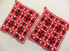 Vintage Pot Holders, Set of 2 Hot Pads, Handmade Potholders, Red Black White Retro Kitchen Accessories, for the Vintage Kitchen, Mid Century by CatBazaar on Etsy