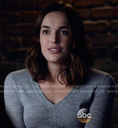 Jemma's grey v-neck sweater on Agents of SHIELD Floral Sundress, Floral Maxi, Elizabeth Henstridge, Black Widow Winter Soldier, Librarian Chic, Marvel Actors, Marvel Movies, Female Character Inspiration, Phil Coulson