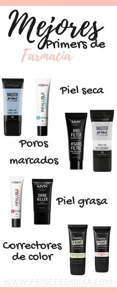 Best drugstore primers for any type of skin. Learn how to use, pick and apply a primer for a better looking skin and long-lasting makeup. Make Up Geek, Make Up Dupes, Diy Makeup Primer, Makeup Goals, Makeup Tips, Hair Makeup, Makeup Hacks, Best Drugstore Primer, Best Drugstore Eyeliner
