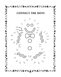 Connect the dots - Gingerbread man - Free Printable Coloring Pages