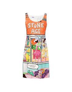 2015 Moschino Multicoloured Stone Age Comic Print Dress