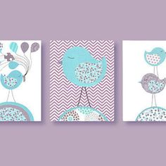 purple and turquoise nursery bedding | Aqua and Purple Nursery Prints, Birds, Purple Chevron, Complements ...