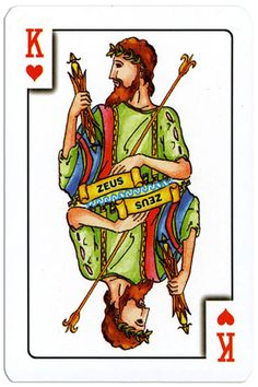 King of hearts Greek mythology playing cards King Of Hearts Card, Ace Of Spades, Heart Cards, Greek Mythology, Playing Cards, Modern, Fictional Characters, Decks, Trendy Tree