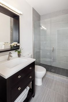 Contemporary 3/4 Bathroom with Daltile city view urban evening, Flush, Origine gris porcelain wall tile, frameless showerdoor