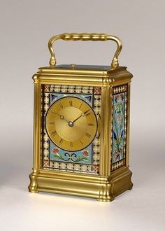 DROCOURT   A French enamel dial carriage clock