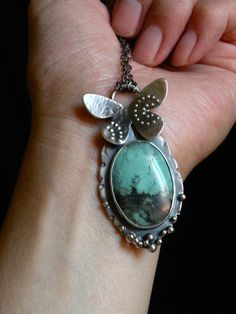 Sterling silver and turquoise butterfly necklace  by BlueGnome, $192.00