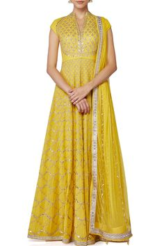 Beautiful Yellow anarkali set by Anita Dongre. Anarkali Dress, Pakistani Dresses, Indian Dresses, Indian Outfits, Lehenga, Indian Clothes, Anarkali Suits, Sarees, Punjabi Fashion
