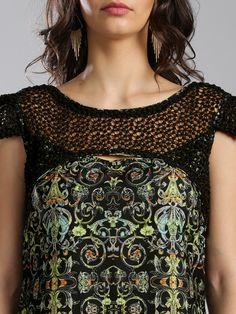 45a6f0843e Buy IMARA Fusion By Shraddha Kapoor Black & Green Printed Tunic - Tunics  for Women