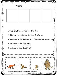 The Gruffalo - logic puzzles. Improve higher order thinking skills with the Gruffalo. Gruffalo Activities, Literacy Activities, Primary Teaching, Teaching English, Thinking Skills, Critical Thinking, The Gruffalo, Higher Order Thinking, Logic Puzzles