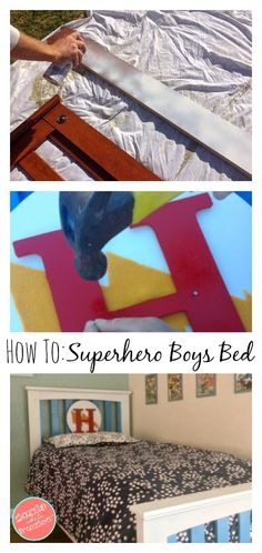 DIY Superhero Boys Bed | Superhero Decor | Superhero Crafts | Kid Bedroom Decor Ideas | Boys Bedroom | Wood Projects | Felt Crafts via @https://www.pinterest.com/dazzlefrazzled/