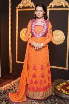 Celina Jaitley Orange Embroidery Semi Stitched Georgette Anarkali Suit Material