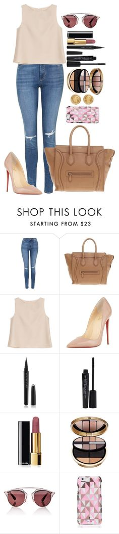 """""""Untitled #1405"""" by fabianarveloc on Polyvore featuring Topshop, CÉLINE, ADAM, Christian Louboutin, Marc Jacobs, Smashbox, Chanel, Giorgio Armani, Christian Dior and Kate Spade"""