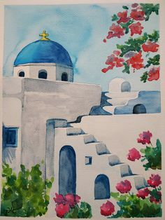Watercolor Architecture, Watercolor Landscape Paintings, Watercolor Artists, Watercolor Portraits, Small Canvas Art, Diy Canvas Art, Canvas Painting Tutorials, Greece Painting, Greece Drawing