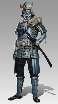 An original character design based on traditional samurai armors of feudal Japan. This warrior is from the the snowy regions along the mountain spine of Japan. His armor is themed around the mythological Shachihoko, an animal that's half tiger and Fantasy Character Design, Character Concept, Character Inspiration, Character Art, Fantasy Armor, Medieval Fantasy, Real Samurai, Samurai Warrior, Samurai Artwork