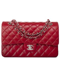 Chanel Red Quilted Lambskin Large Classic 2.55 Double Flap Bag |... ❤ liked on Polyvore featuring bags, handbags, chanel, lambskin handbags, red handbags, red bag, lambskin purse and red quilted bag