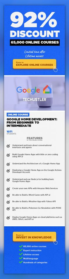 Google Home Development: From Beginner to Intermediate Web Development, Development #onlinecourses #onlinecoursesbusiness #CoursesWebsite  The most comprehensive and complete Google Home course. Build & deploy voice activated applications. Update: Join over 8,200 students in the Techustler Course Series. You don't want to miss this opportunity in learning practical knowledge in Tech. Have you e...