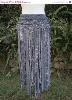 20% OFF BURNING MAN bohemian skirt/belt with shabby detail...a work of art 34  across plus ties.....