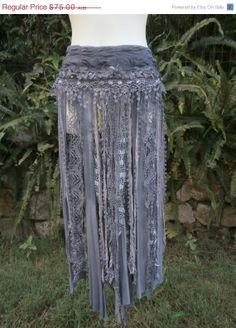 20% OFF BURNING MAN bohemian skirt/belt with shabby detail...a work of art 34  across plus ties.....