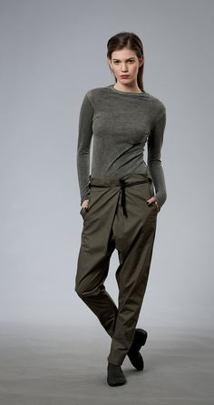 Women Pants, Drop Crotch Pants, Casual Pants, Gray Trousers, Women Clothing