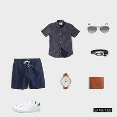 ** MENS OUTFIT IDEAS #73 ** Since the warm weather is still holding on, it's time to break out the shorts and the short sleeves. This outfit features a beautiful Corridor NYC Ind...