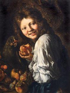 Ragazzo che ride con frutta e pappagallo by Abraham Brueghel Mona Lisa, Artwork, Painting, Work Of Art, Auguste Rodin Artwork, Painting Art, Artworks, Paintings, Painted Canvas