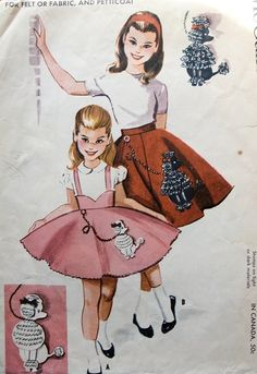 Vintage 1958 McCall's 2251 Sewing Pattern Girls' Circle Skirt and Petticoat Size…