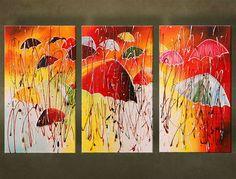 Ručne maľovaný obraz DÁŽDNIKY 3 dielny 120 x 70 cm 5652FA