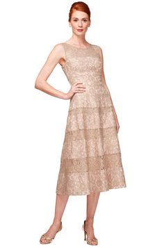 Kay Unger New York - Lace T-Length Dress in Apricot 30% off