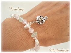 MOTHERHOOD  FERTILITY Bracelet Rose Quartz by Inspired Creations.  FERTILITY AMULETS, talismans and jewelry have been worn by women for ages and may help women who are having difficulties getting pregnant and those who wish to have an easier birth. Besides using stones which are associated with fertility, Reiki energy especially channeled for sexuality, reproduction, conception and pregnancies have been instilled in this bracelet. Open yourself up new possibilities in your life! $26.99