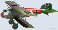 The planes of the Great War were often very colorful. With the lilac accents on the wings here, I think we may have a follower of Frederick the Great in the officer corps...