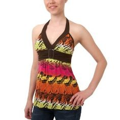 A.Byer Juniors' Abstract Print Knit Halter Top,Multi Blue,Small (Apparel) via Realadriatic.com