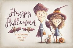 Kids Halloween Characters & Elements by YetiCrab on @creativemarket