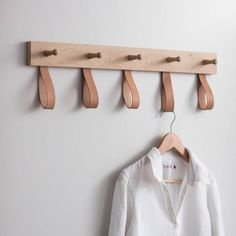 Understated and stylish, the Kelston 5 Peg Rail Coat Rack features five wooden pegs and five leather loops, making it ideal for hanging up your coats. Retro Furniture, Diy Furniture, Furniture Design, Industrial Furniture, Furniture Removal, Furniture Assembly, Vintage Industrial, Wooden Pegs, Deco Design