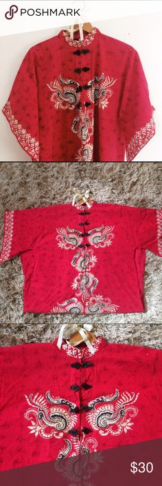 Vintage Red Thai--Style Robe Vintage Thai pullover robe, bought in Germany in the early 90's and made in Thailand. 100% cotton. One button is slightly unraveling but can easily be fixed with needle and thread, and there is an ink stain on the bottom that isn't too noticeable. Great vintage buy! Intimates & Sleepwear Robes