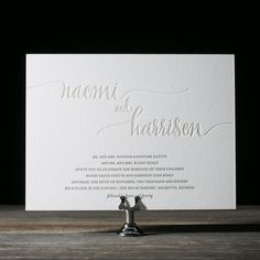 The Colette suite by Kelle McCarter is a best-selling calligraphy wedding invitation with modern, over-sized hand calligraphy accents.