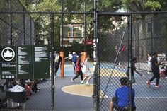 """West Street's iconic basketball court—colloquially called """"the cage"""" because a chain-link fence boxes players into a smaller-than-regulation playing surface—has been a proving ground for. Basketball Ground, Street Basketball, Basketball Court, Stephon Marbury, Backyard Bar, 4th Street, Nba Stars, City That Never Sleeps, Dream City"""