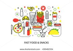 Modern flat thin line design vector illustration, concepts of unhealthy fast food and snacks, for graphic and web design