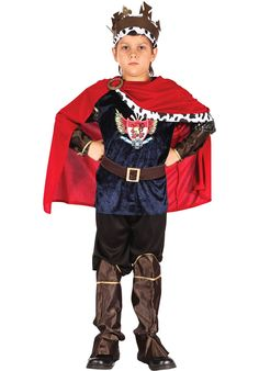 The Fantasy King Costume includes top with a royal crest logo, cuffs and black trousers as well asa headpiece and boot covers. Popular Halloween Costumes, Costumes For Sale, Make A Crown, Childrens Fancy Dress, King Costume, Crest Logo, Fantasy Costumes, Book Week, Black Trousers