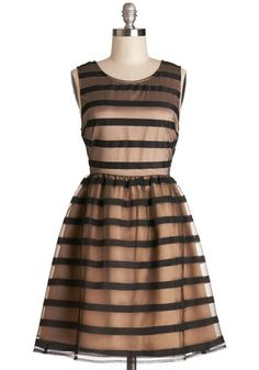 Soiree What You Will Dress - Mid-length, Tan / Cream, Black, Stripes, Cutout, Special Occasion, Prom, A-line, Sleeveless, Better, Scoop, Bac...