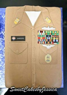 Uniform cake, navy cake, retirement cake, us navy chief, master chief, khaki cake