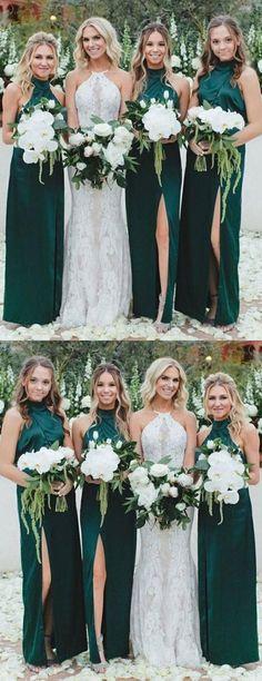 bf83c11e4cc Long High Neck Dark Green Cheap Unique Design Bridesmaid Dresses with Split
