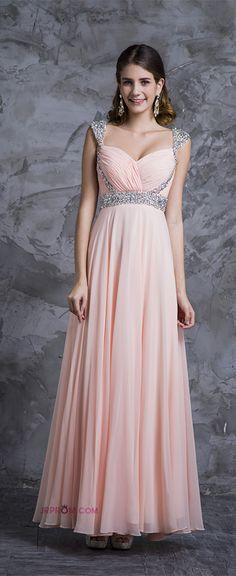 Best Selling Prom Dresses A-Line V-Neck Floor-Length Chiffon Zipper Back  Item Code:#JRPM6ABJ7J