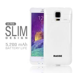 Rasse white 5200mAh Battery Charger Case,power your Samsung Galaxy Note 4