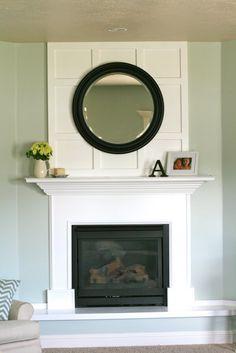 board and batten fireplace redo Fireplace Molding, Fireplace Hearth, Fireplace Mirror, Fireplace Backsplash, Corner Fireplaces, Fireplace Facing, Simple Fireplace, Stone Fireplaces, White Fireplace